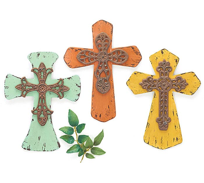 SPRING COLORS RUSTIC METAL CROSS SET