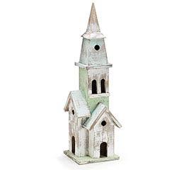 WHITE WOOD CHURCH SHAPED BIRDHOUSE