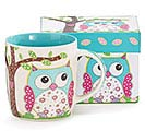 CALICO OWL BONE CHINA MUG W/BOX