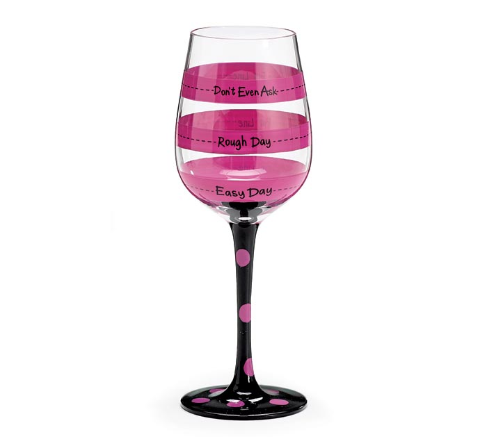 HOT PINK FILL LINE WINE GLASS