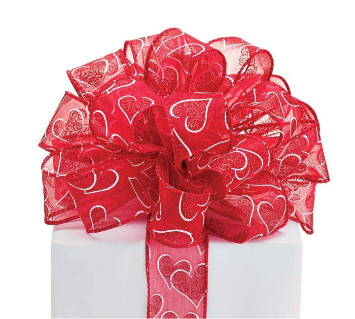 #9 WHITE HEARTS RED SHEER WIRED RIBBON