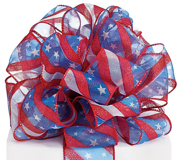 #40 STARS AND STRIPES SHEER WIRED RIBBON