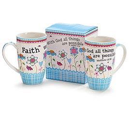 FAITH AND FLOWERS BONE CHINA MUG W/BOX