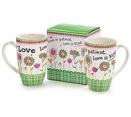 LOVE AND FLOWERS BONE CHINA MUG W/BOX