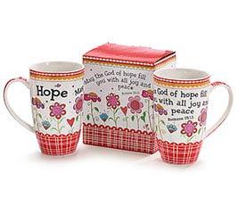 HOPE AND FLOWERS BONE CHINA MUG W/ BOX