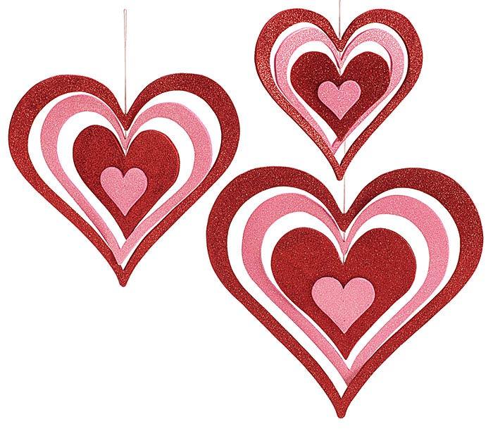 GLITTERED WOOD CONCENTRI HEARTS DECOR
