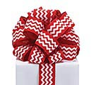 #9 RED CHEVRON WIRED RIBBON