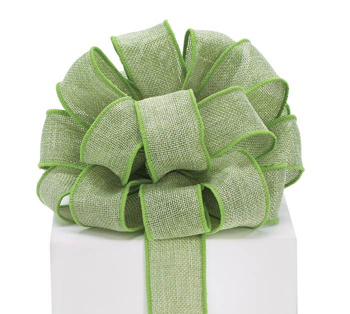#9 GREEN BURLAP WIRED RIBBON
