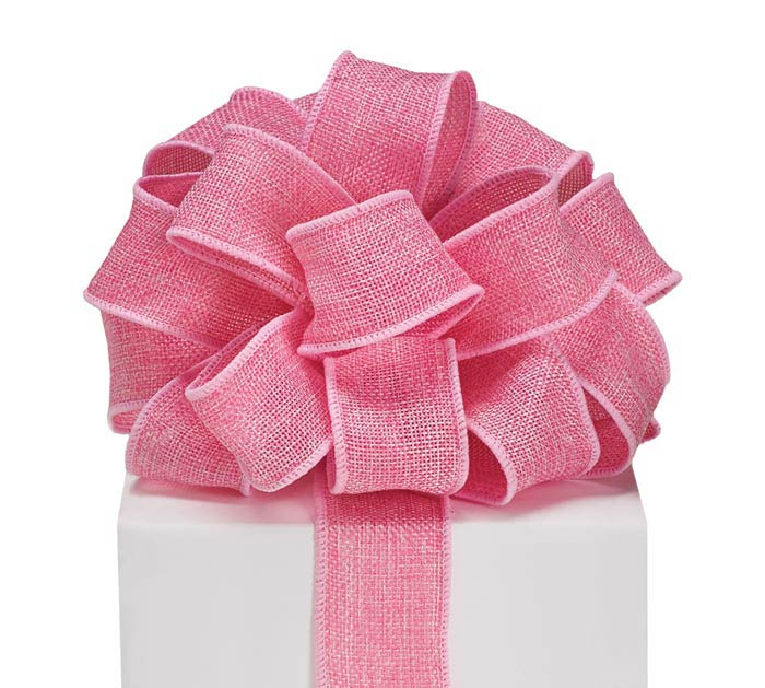 #9 PINK BURLAP WIRED RIBBON