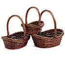 DARK STAIN BOAT SHAPE WILLOW BASKET SET