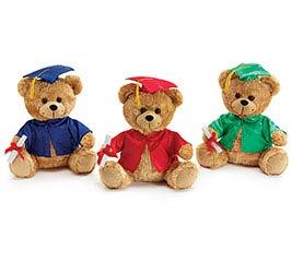 PLUSH BLUE/RED/GREEN GRADUATION BEAR SET