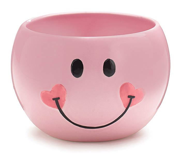 PINK SMILEY FACE CERAMIC PLANTER