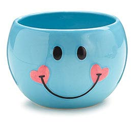 BLUE SMILEY FACE CERAMIC PLANTER