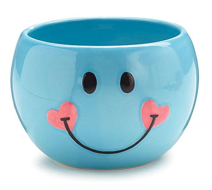 BLUE SMILEY FACE CERAMIC PLANTER