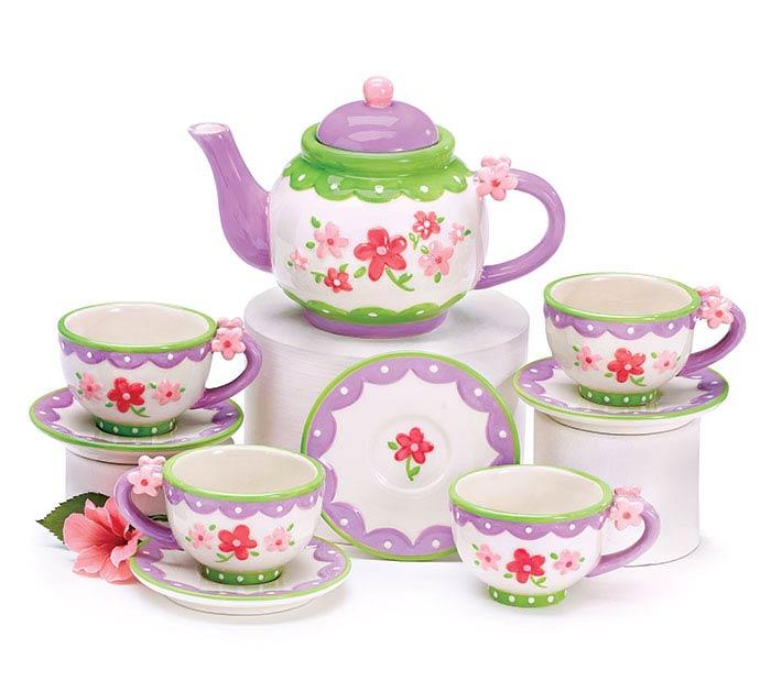 LAVENDER FLOWERS MINI CERAMIC TEA SET