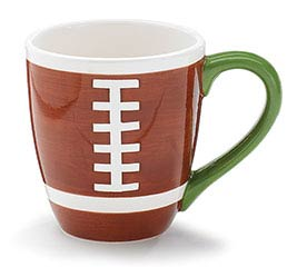 HAND-PAINTED CERAMIC FOOTBALL MUG