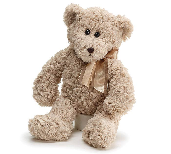 PLUSH BEIGE BEAR WITH SATIN STRIPE BOW
