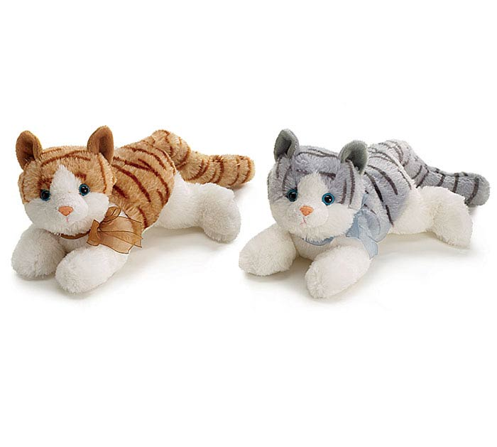 PLUSH GRAY/BROWN KITTY CAT PAIR