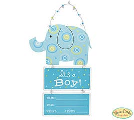 IT'S A BOY BABY STATS ELEPHANT WALL HANG