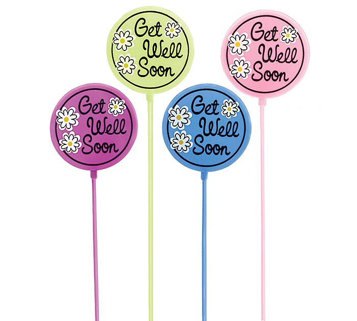 GET WELL SOON SPRING COLORS PLASTIC PICK
