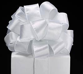 #9 WHITE WIRED SATIN RIBBON