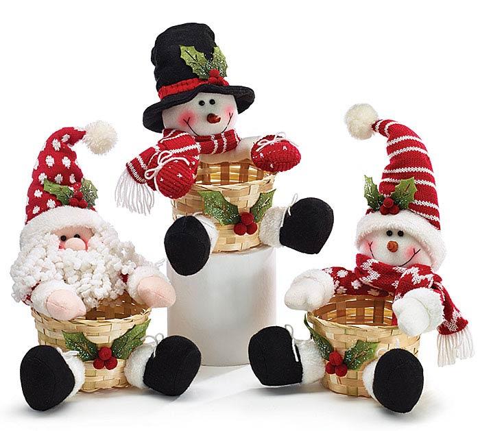 BAMBOO BASKET SET W/ PLUSH SANTA/SNOWMAN