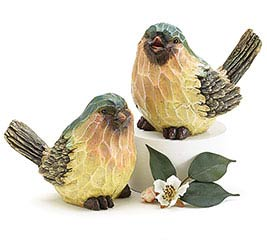 WOOD CARVED RESIN BLUEBIRD PAIR