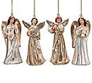 PEWTER RESIN ANGEL ORNAMENT SET
