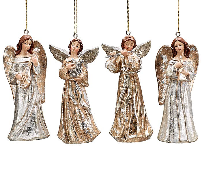 PEWTER RESIN ANGEL ORNAMENT SET