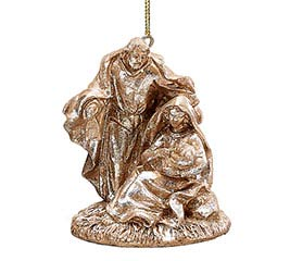 PEWTER RESIN HOLY FAMILY ORNAMENT