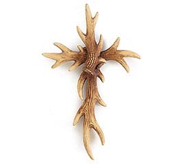 RESIN CROSS SHAPED ANTLER WALL HANGING