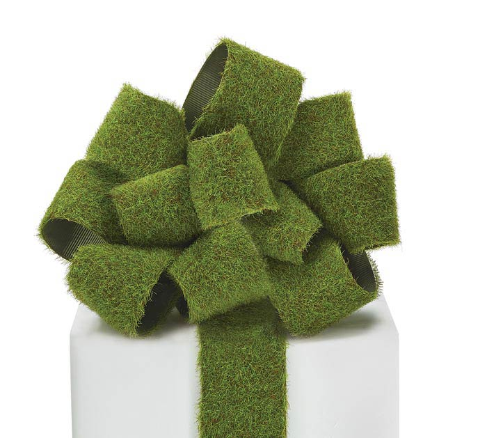 #9 GREEN FAUX MOSS RIBBON