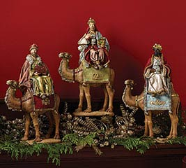 INDIVIDUAL 3 KINGS ON CAMELS FIGURINE