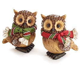 RESIN PINE CONE OWLS WITH SCARF