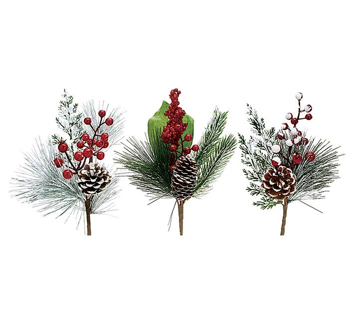 "12"" PINE CONE/RED BERRY SPRAY PICK SET"