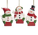 PERSONALIZABLE CERAMIC SNOWMAN ORNAMENT