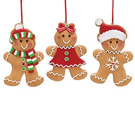 CLAY DOUGH GINGERBREAD ORNAMENT TRIO