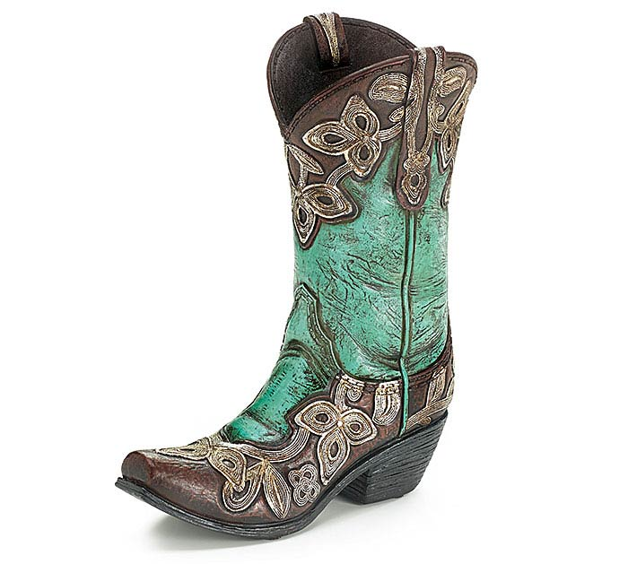 COWGIRL BOOT RESIN VASE