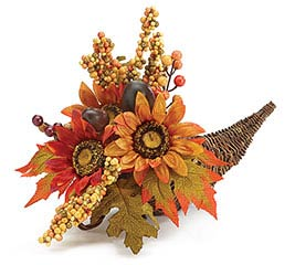 FALL SILK FLORAL IN GRAPEVINE CORNUCOPIA