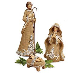 BURLAP TEXTURE HOLY FAMILY NATIVITY