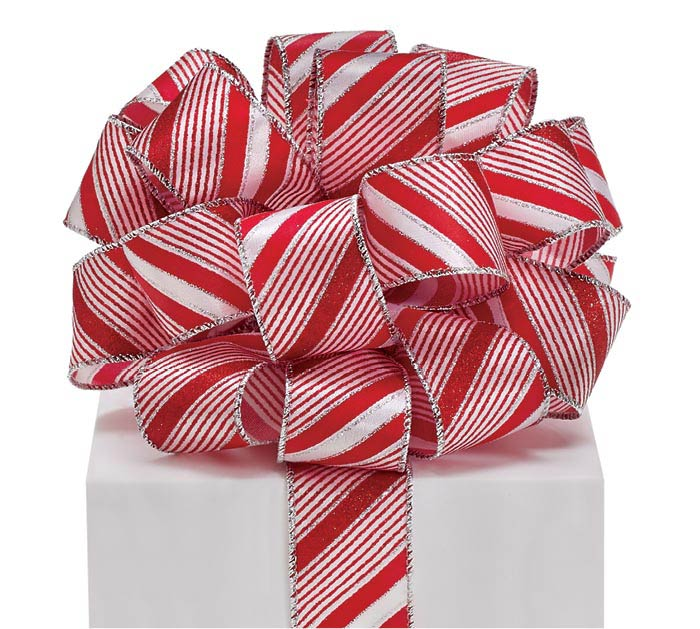 #9 CANDY CANE STRIPE WIRED RIBBON