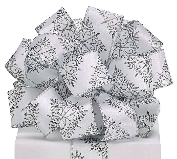 #9 SILVER SNOWFLAKE SATIN WIRED RIBBON