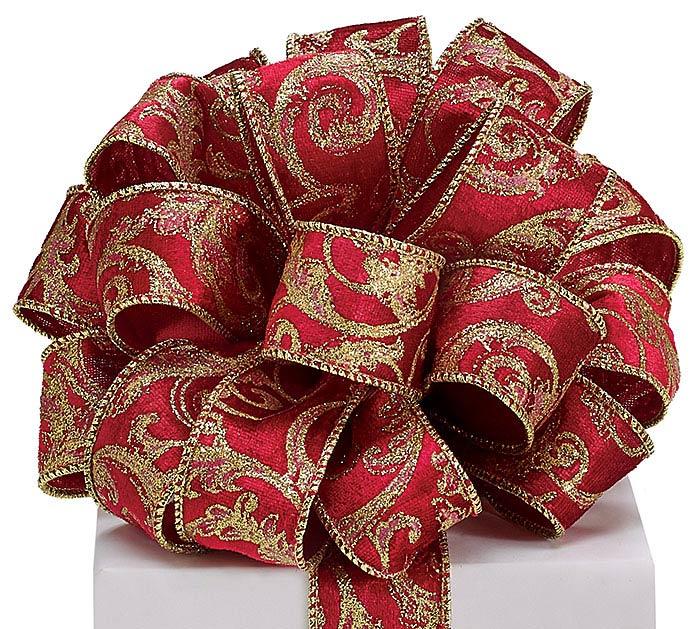 #9 RED VELVET GOLD SWIRLS WIRED RIBBON