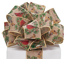 #40 CARDINAL PRINT BURLAP WIRED RIBBON
