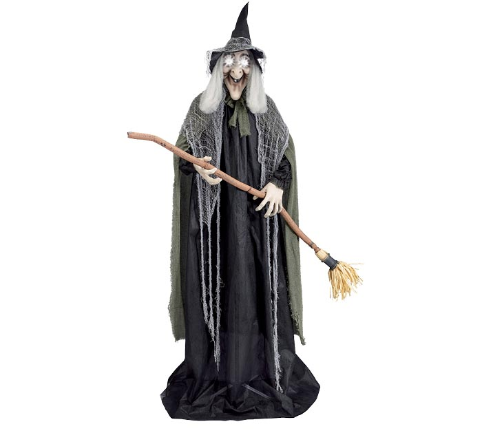 ANIMATED STANDING WITCH WITH BROOM