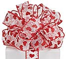 #9 RED VAL HEARTS SHEER WIRED RIBBON