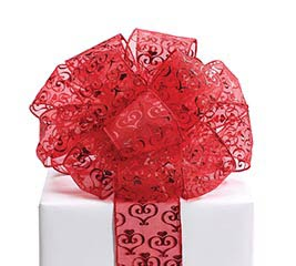 #40 METALLIC RED SHEER WIRED RIBBON