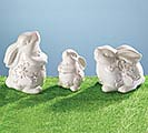 EMBOSSED CERAMIC WHITE BUNNY FIGURINE SE