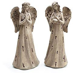 DISTRESSED RESIN ANGEL FIGURINE SET