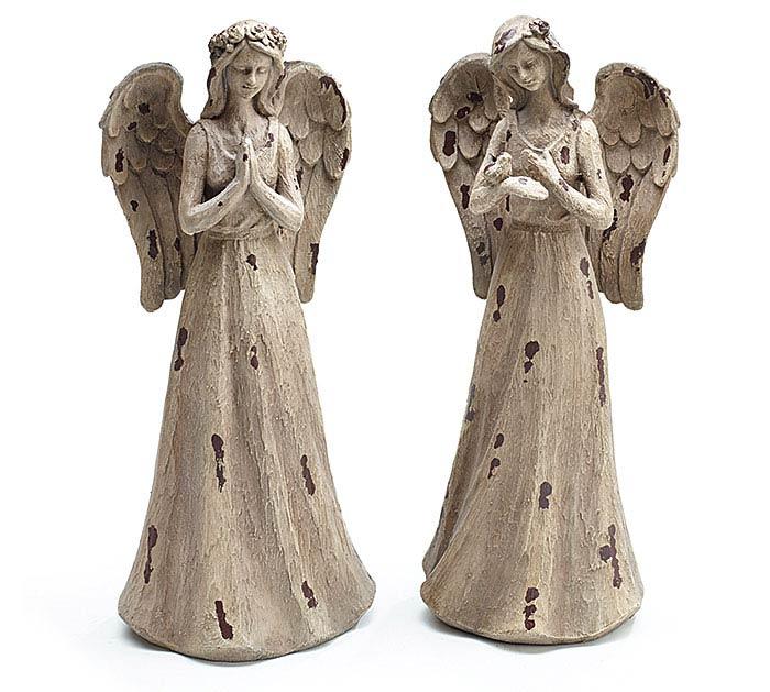 DISTRESSED RESIN ANGEL FIGURINE SET